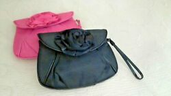BlackPink Wristlet Rose Satin Bags W Faux Leather Piping 8