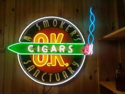 """Neon Sign -a Smoker's Sanctuary Cigars O.k. - 36"""" X 34"""" - One Of A Kind Sign"""