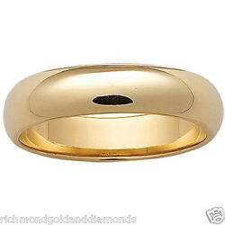 Clearance Yellow Gold 6mm Size 9 Plain Mens And Women Wedding Band Ring 6 Mm