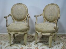 Pair High-end Gilded French Style Swivel Chairs - Quatrain / Minton Spidell