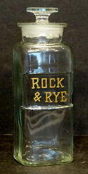 Rock And Rye Whiskey Antique Apothecary Jar / Bar Saloon Bottle Pharmacy Drugstore