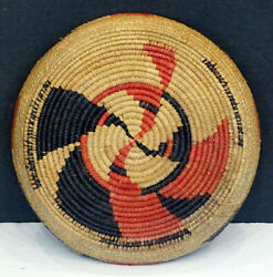 Authentic Native American Indian Antique Coiled Sweetgrass Basket / Nice Design