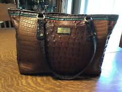 Very Good Brahmin Tri-color Med. Croc Embossed Leather Asher Tote