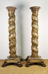 Fine Pair 18th century Carved Solomonic Torchere Stands