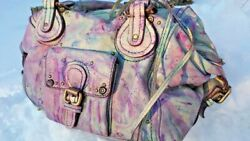 CHLOE LEATHER purse HANDBAG Paddington LOCK key BAG pink grey purple blue cloud