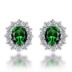 7.10 Ct Oval Cut Emerald And Diamond Earrings 14k White Gold