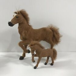 Set Of 2 Vintage Toy Model Horses Real Fur Brown 12 Large And 5.5 Small