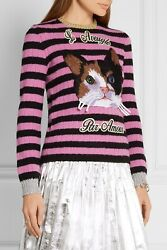 Cat Embroidered Knit Top