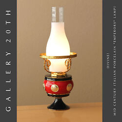 Amazing Mid Century Emperors Italian Porcelain Lamp Red Fortune Coin 50and039s