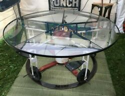 Vintage Glass Top Table Child's Playground Ride Base Delivery Available