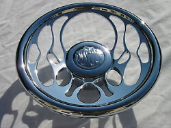 14 Chrome Billet Flames Fire Steering Wheel W/ Adapter And Horn Button Street Rod