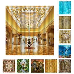 2 Panels Window Curtain Panels 3D Printing Living Room Bedroom Window Drapes