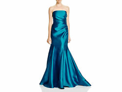 Badgley Mischka Strapless Mikado Mermaid Gown SZ 0 ($695) Blue