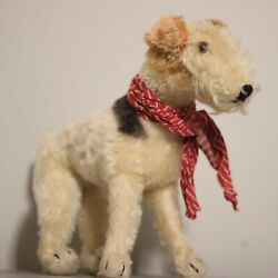 Adorable Antique STEIFF Foxi Fox Terrier Dog❤️ 1950s like a real dog  - a friend