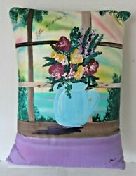 Hand Painted Floral Home Decor Pillow Aqua Teal Purple Gold