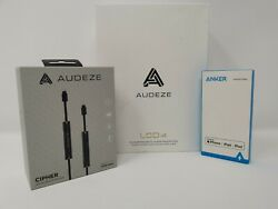 New Audeze LCD-i4 Planar Earphones + Bluetooth Cipher DSP Cable + Anker Adapter
