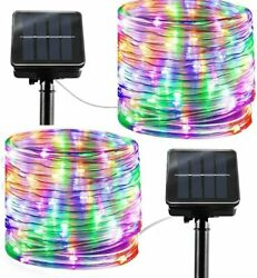 8 Modes Solar Rope Lights Outdoor String Lights 2pcs Multi Color Waterproof Rope