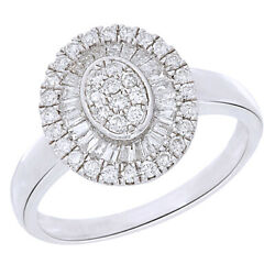 1/2ct Round And Baguette Diamond Ring 14k White Gold Over Sterling -igi-