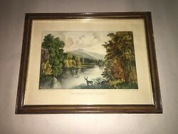 Original Currier And Ives Print Moosehead Lake Great Color And Sheet Size