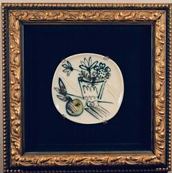 Pablo Picasso Ceramic Round/Square Plate. 1956, Bunch with Apple (see Photo)
