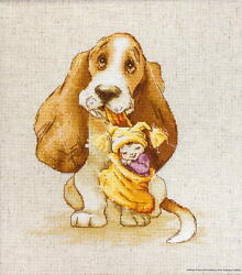 Luca S counted Cross Stitch kit quot;Basset with a toy quot; 165x185cm DIY