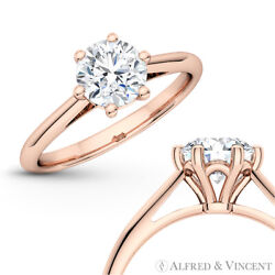 Forever One Def Round Moissanite 6pr Solitaire Engagement Ring In 14k Rose Gold