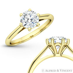 Forever One D-e-f Round Moissanite 6pr Solitaire 14k Yellow Gold Engagement Ring