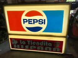 1983 Pepsi Double Sided Large Lighted Hanging Store Sign Vintage Retail