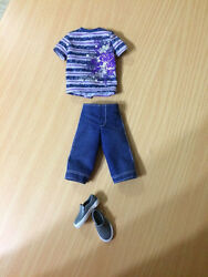 Barbie Fashionista Ryan Ken Doll Outfit Cloth Navy Blue Stripe Top Shorts Shoes