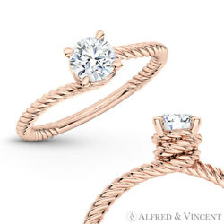 Forever One Def Round Moissanite 4pr Solitaire Engagement Ring In 14k Rose Gold