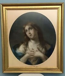 Mary Magdalene Dry Pastel On Paper, 19th Century In The Style Of Titian