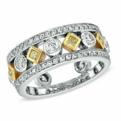 1 1/10ct Fancy Yellow And White Diamond Ring 18k Two Tone Gold