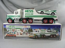 1991 Hess Gasoline Toy Hauler Truck And Race Car Push Motor Real Head Tail Lights