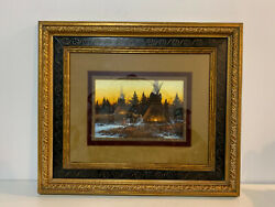 John Paul Strain Signed Gouache Painting Winter Sunset Native American Teepees