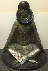 Large Vintage 1984 Austin Productions Deco Style Pierrot Sculpture Signed Fisher