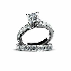 1.68 Ct Princess Cut Simulated Diamond 14k White Gold Engagement And Wedding Rings