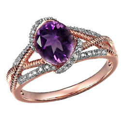2.00ct Amethyst And Diamond Accent Ring Solid 14k Rose Gold