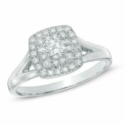 1/2 Ct Natural Diamond Double Square Frame Engagement Ring In 10k White Gold