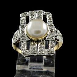 Estate 1.65 Ct Round Cut Pearl Diamond 18k Solid Yellow Gold Art Deco Ring