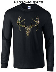 Camo Deer Skull Buck Deer Camouflage Hunter Tee Long Sleeve Tee T-Shirt New Gift