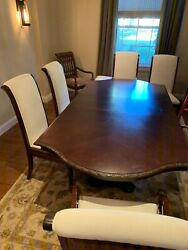 Bernhardt Dining Table With 2 Leaf Extensions And Custom Overlay Protector