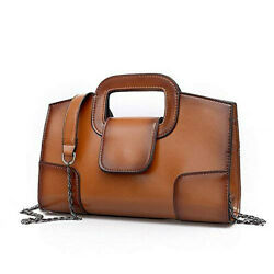 Womens Brown Leather Handbags Clutch Bags Crossbody Purse Zippered Fashion Purse $39.97