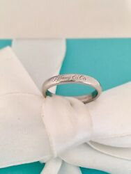 And Co Platinum Notes Script 3mm Ring - Wedding Band Size 5.5 Rrp 2250