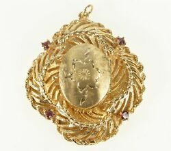 14K Retro Floral Etched Locket Swirl Ruby Pendant Yellow Gold *07