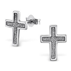 ICYROSE 925 Sterling Silver Glittery Cross Women Stud Earrings 3427 $9.95