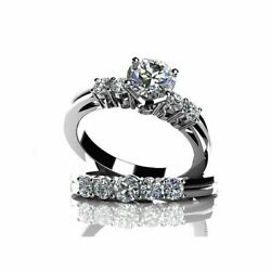 2.6 Ct Round Cut Cubic Zirconia 14k White Gold Solitaire Wedding Ring Sets