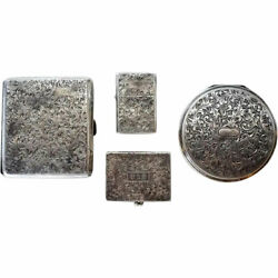 Four Vintage Japanese Sterling Silver Compacts Lighter And Cigarette Case C. 1930