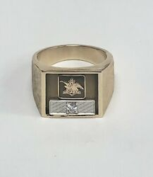 10k Yellow Gold Anheuser Busch Ring With Diamond Size 10.75