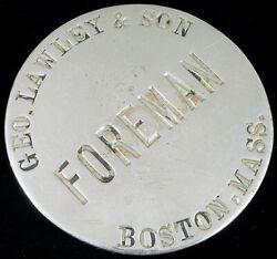 Antique George Lawley And Son Shipbuilding Foreman Badge Americaand039s Cup History