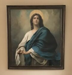 Antique Oil Painting French 19th Century, Religious, Christianity, Madonna